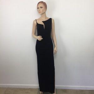 Nicole Bakti Vintage Gown Asymmetrical Neck Dress